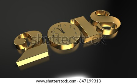 New Year 2018 3d Rendering