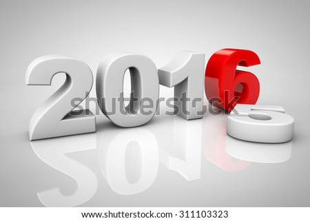 New Year 2016 3d Sign on a grey background