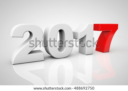 New Year 2017 3d Sign on a grey background. 3d Rendering