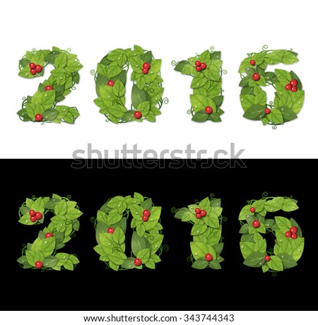 New year 2016. Date lined green leaves with drops of dew. Isolated on black and white background