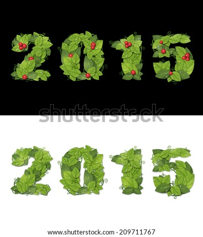 New year 2015. Date lined with green leaves with drops of dew. Isolated on black and white background