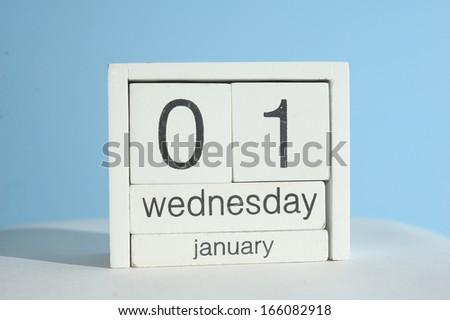 new year day on January  calendar - stock photo