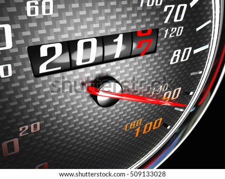 new year day 2017 speedometer 3d rendering