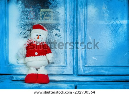 New Year decor, Santa Claus on the old cabinet - stock photo