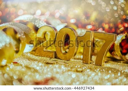 New year decoration,Closeup on golden 2017 - stock photo