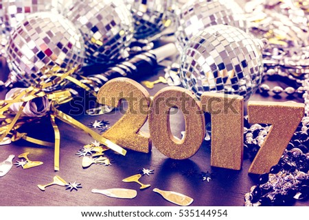 New year decoration. Closeup on golden 2017