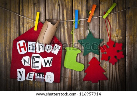 New Year decoration with message in letter - stock photo