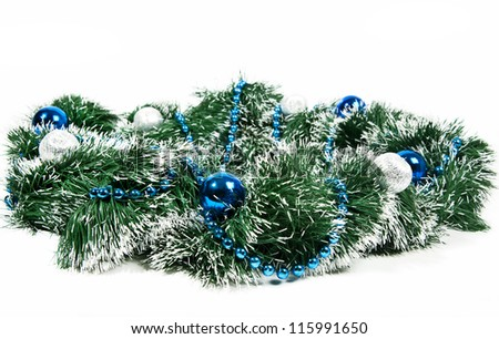 New Year decoration wreath with ball and beads