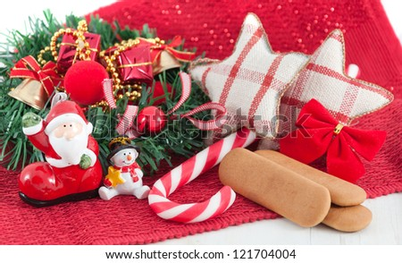 New Year decorations and cookies concept - stock photo
