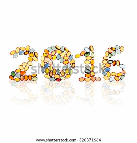 new year 2016 design by gems - stock photo