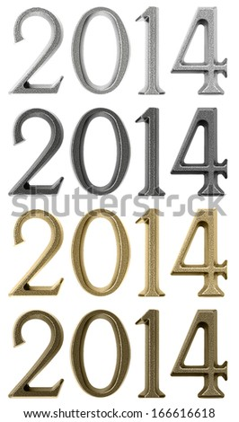 New year design elements - numbers 2014 of gold, silver, solid brass and black metal colors, isolated over white background  - stock photo