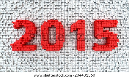 New year 2015 digits extruded from white sticks background - stock photo