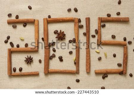 New year 2015, digits made of cinnamon sticks - stock photo