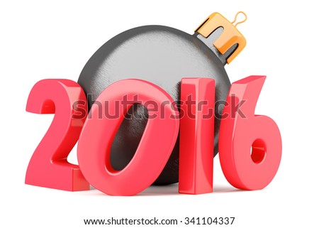 New Year 2016 digits with christmas bauble isolated on white background. 3d render