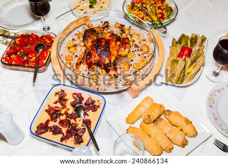 New Year dinner - stock photo