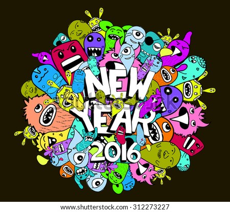 new year doodle hipster colorful background