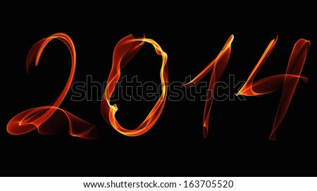 New Year 2014 fire numbers on a black background - stock photo