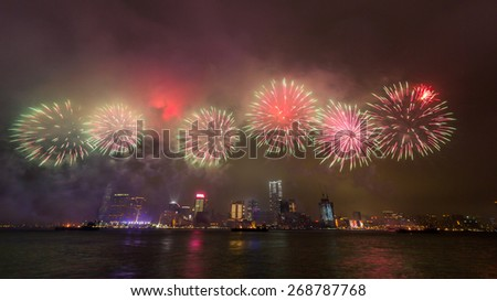 New Year Fireworks at Victoria Harbor in Hong Kong