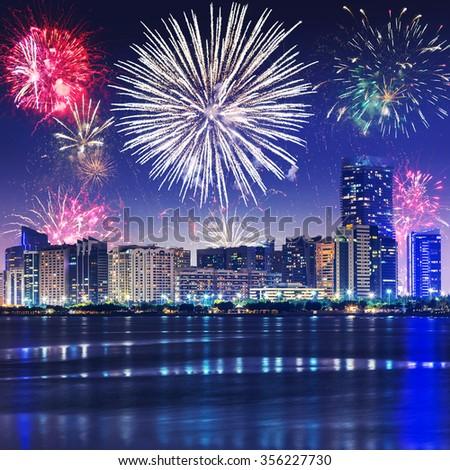 New Year fireworks display in Abu Dhabi, UAE - stock photo