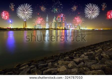 New Year fireworks display in Dubai, UAE - stock photo