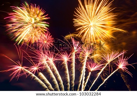 New year fireworks on the sky - stock photo