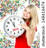 new year 2014. five to twelve. young beautiful woman with big clock and party decoration - stock photo