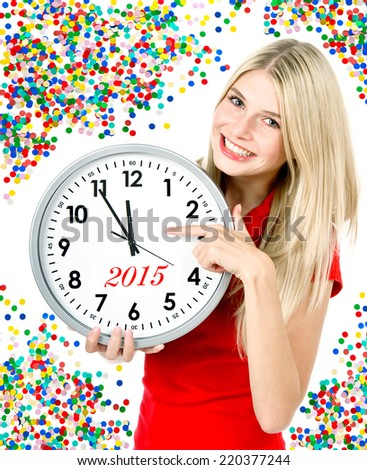 new year 2015. five to twelve. young beautiful woman with big clock and party decoration - stock photo