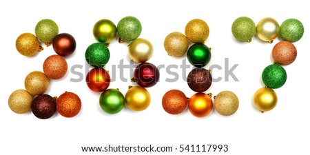 New Year 2017 from Christmas balls isolated on a white background. Flat lay, top view