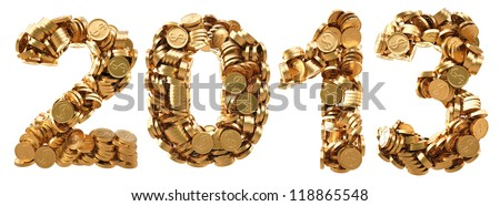 new 2013 year from the golden coins. isolated on white. - stock photo
