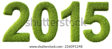 new 2015 year from the green grass. isolated on white. - stock photo
