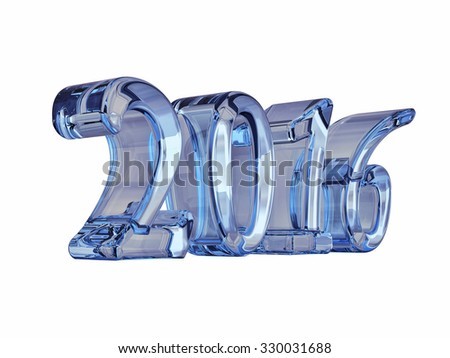 New Year Glass 2016 3d Text Isolated on white - stock photo
