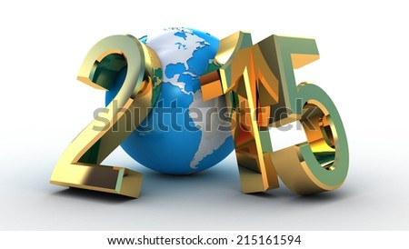new year 2015 globe on white background - stock photo