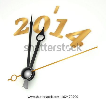 new year 2014 gold clock on whte background - stock photo