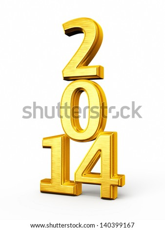 New Year 2014 Gold render (isolated on white and clipping path)