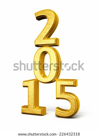 New Year 2015 Gold render (isolated on white and clipping path)