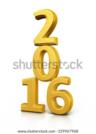 New Year 2016 Gold render (isolated on white and clipping path)