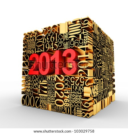 New year 2013. Golden Cube of many year numbers. - stock photo