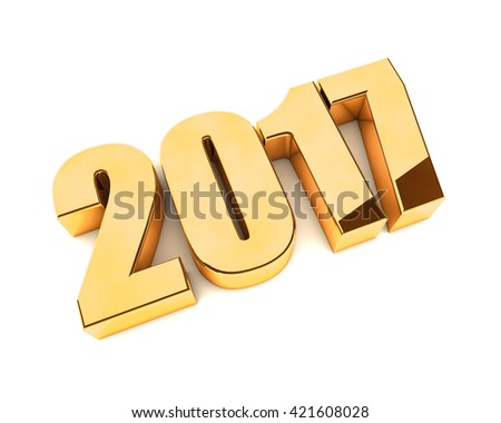 New 2017 year golden 3D figures isolated on white background. 3D rendering. - stock photo