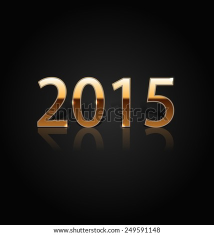 New year 2015 golden figures isolated on black background