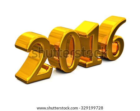 New Year 2016 Golden Text Isolated on white background - stock photo