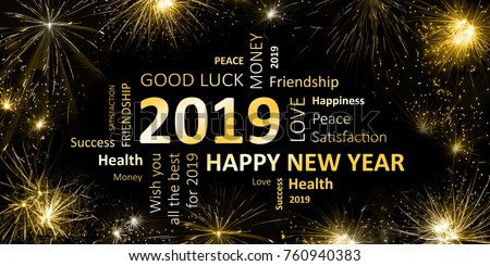New year greeting card 2019 stock illustration 760940383 shutterstock new year greeting card 2019 m4hsunfo