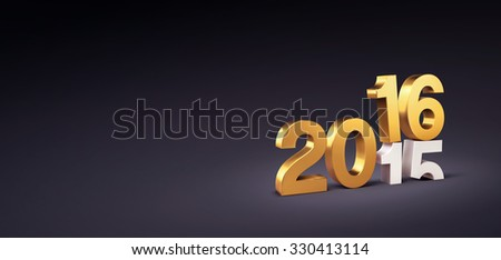 New Year greeting card. 3D gold 2016 over 2015 isolated on black. - stock photo