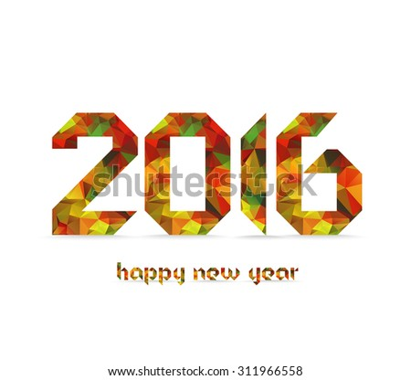 New 2016 year greeting card made in colorful polygonal origami style - stock photo