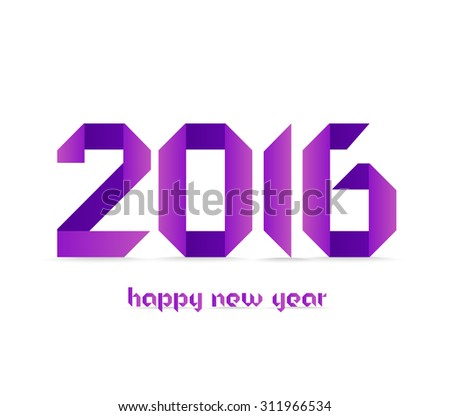 New 2016 year greeting card made in purple polygonal origami style - stock photo
