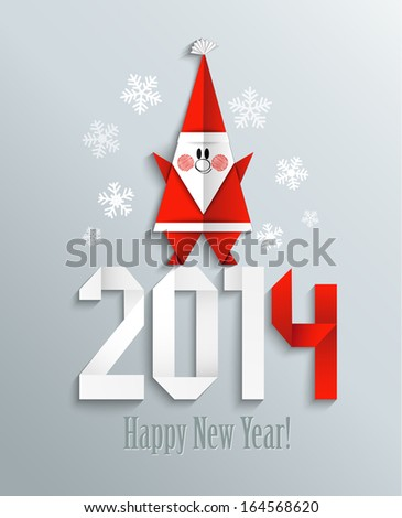 New year greeting card with Santa Claus made in origami style, raster. - stock photo