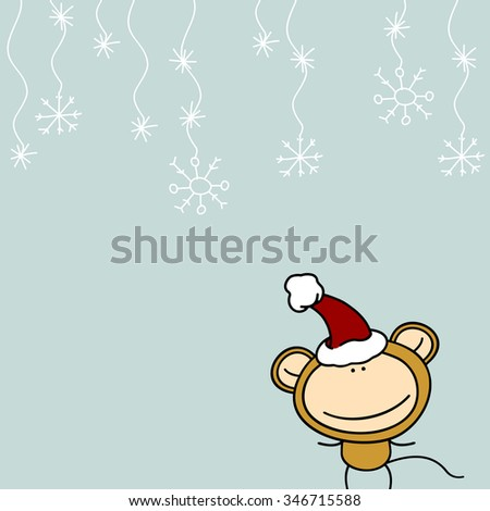 New Year greeting card with the Monkey in Santa's hat - stock photo