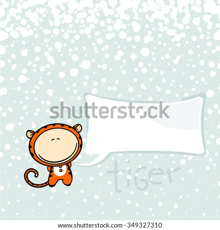 New year greeting card with the Tiger and speech bubble window for your text (raster version) - stock photo