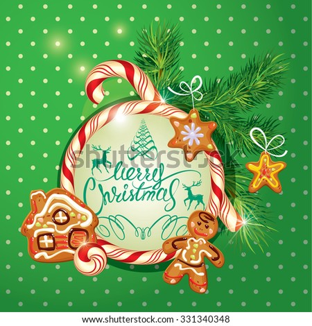 New Year Holiday greeting Card with xmas gingerbread - man, stars and house cartoons, candy frame and fir-tree branches. Hand written calligraphic text Merry Christmas, Raster version - stock photo