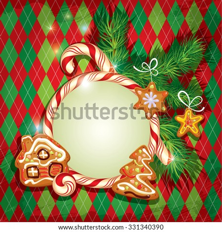 New Year Holiday greeting Card with xmas gingerbread - tree, stars and house cartoons, candy frame and fir-tree branches on checked background. Raster version - stock photo