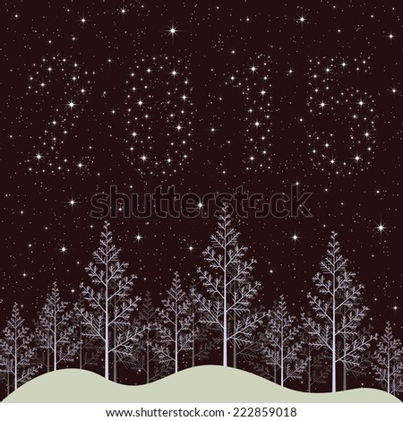 New year 2015 holiday illustration. Snowy winter forest night with bright stars. - stock photo